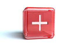 Cross Sign On Red Cube. Cross sign on red 3d cube on a white background Royalty Free Stock Images
