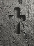 Cross sign on stone Stock Image