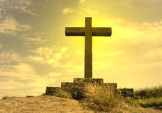 Cross silhouette. On top of the mountain Stock Images
