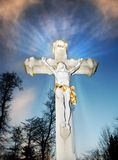 Cross silhouette. In light shine stock photography