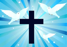 Cross silhouette with doves. On blue background vector illustration