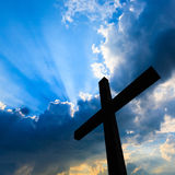 Cross silhouette. And the holy blue sky Stock Photography