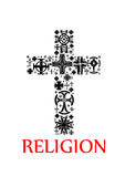 Cross silhouette made up of religious crucifixes Royalty Free Stock Photos