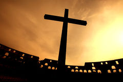 Cross silhouette sunset Royalty Free Stock Images