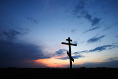 Cross silhouette with the sunset Royalty Free Stock Photography