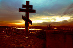 Cross silhouette at sunset Royalty Free Stock Photos