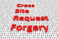 Cross site request forgery. In the form of binary code, 3D illustration Royalty Free Stock Image