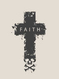 Cross with skull and cross-bones with word Faith Stock Image