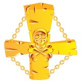 Cross and skull golden Stock Images