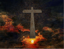 Cross in Sky. Painting with new testament in Latin text Royalty Free Stock Photos