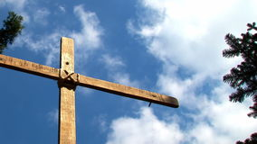 Cross And Sky 03. Wooden Cross Against Blue Sky stock video footage