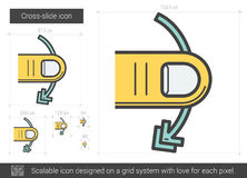 Cross-slide line icon. Cross-slide vector line icon isolated on white background. Cross-slide line icon for infographic, website or app. Scalable icon designed royalty free illustration
