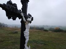Cross in South Czech with landscape royalty free stock images