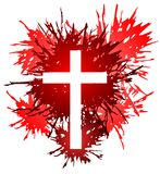 Cross in spots. Image representing a cross into some spots of red color Royalty Free Stock Photography