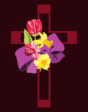 Cross with Spring flowers. Deep pink cross with spring flowers and purple bow Royalty Free Stock Images