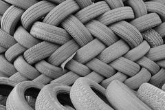 Cross Stacked Used Tires Stock Photos