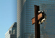 Cross standing at the site of the twin Towers NYC Stock Image