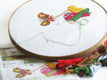 Cross-stitch. Not finished cross-stitch work with chicken and butterfly Stock Image