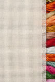 Cross-stitch. Needlework, materials and accessories for embroidery a cross Stock Photo