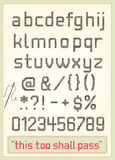 Cross stitch alphabet. With punctuations, numbers, sample text and needle Stock Photos