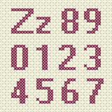 Cross stitch alphabet and number. Stock Image