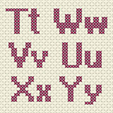 Cross stitch alphabet and number. Stock Photography