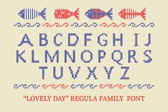 Cross stitch alphabet typeface poster. Good idea for summer, holiday, memorial Independence day posters, textile design. Vector illustration Royalty Free Stock Photo