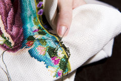 Cross stitch art in the making Stock Photo