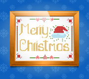 Cross-stitch Christmas  greeting. In the blue background Stock Illustration