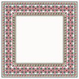 Cross stitch colorful border with ethnic ornament Stock Photo