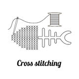 Cross stitch concept sign. Stock Images