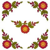 The cross-stitch of the corner element is red flowers on a white background. Vector vector illustration