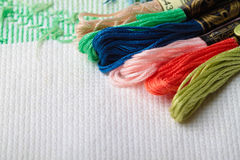 Cross stitch crafting material Stock Image