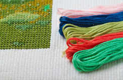 Cross stitch crafting material Royalty Free Stock Image