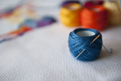 Cross stitch. Crafting material on white background royalty free stock images