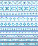 Cross-stitch. Crafts and Hobbies. Blue seamless borders and fram Stock Photography