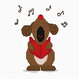 Cross-stitch dog loudly sings a musical greeting. Cell.Vector vector illustration