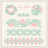 Cross stitch. Embroidered frame in folk style. Royalty Free Stock Image