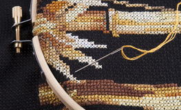 Cross-stitch embroidery Stock Photos