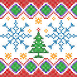Cross Stitch Embroidery Christmas design for seamless pattern texture Stock Photography