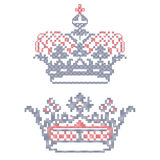 Cross-stitch embroidery. Crowns. Design elements for cross-stitch embroidery. Crowns. Vector illustration Stock Images