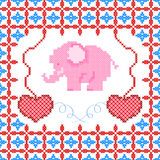 Cross Stitch Embroidery design for seamless pattern texture Stock Photo
