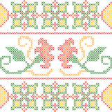 Cross Stitch Embroidery floral design for seamless pattern texture Royalty Free Stock Photography