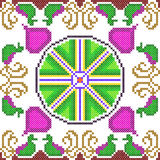 Cross Stitch Embroidery floral design for seamless pattern texture Royalty Free Stock Images