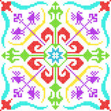 Cross Stitch Embroidery floral design for seamless pattern texture Royalty Free Stock Photos