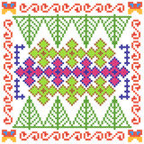 Cross Stitch Embroidery floral design for seamless pattern texture Stock Photography