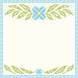 Cross-stitch embroidery - flowers and leaves Stock Photo