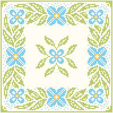Cross-stitch embroidery - flowers and leaves Stock Photography