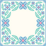 Cross-stitch embroidery - flowers and leaves Stock Images