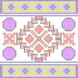 Cross Stitch Embroidery Geometrical design for seamless pattern texture Stock Photo